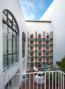 Detalle terraza con macetero vertical